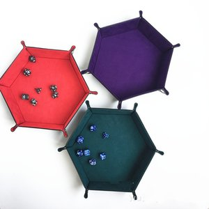 Foldiing Polygon Game Dice Tray Collapsible PU Leather Decorative Dice Storage Box Office Organizer Fit Desktop 26yz E1