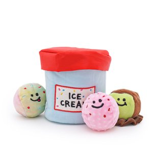 Hot Korea Ice Cream Bucket Glow Ball Set Dog Plush Toy Plush Dog Toy With Funny Squeak Sound Cat Puppy Durability Chew Toys