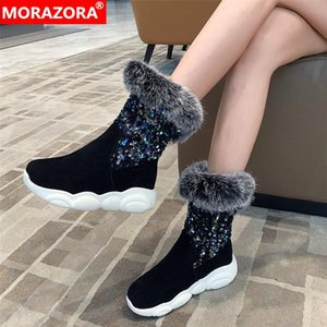 MORAZORA 2020 big size 33-46 fashion soft leather ankle boots comfortable flat heel keep warm ladies shoes 3 colors women boots