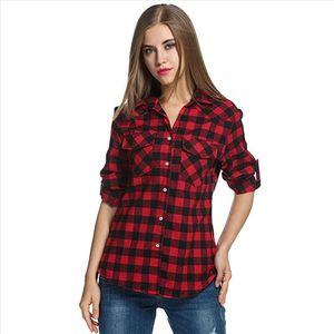 Summer Fashion Womens shirt Plaid Flannel Shirt Roll Up Sleeve Casual Top Button blouse harajuku streetwear blouse women new 20