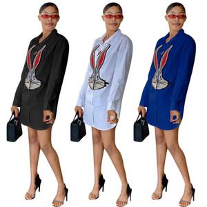 Fashion Sexy Women Shirt Dress sequins Long Ears Rabbit Plus Size Womens Diamond Tee Shirt Casual Women Paris Top Tees