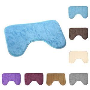 1pc Bath Mats 40*60cm Prevalent Cute U Shaped Soft Pats Anti Slip Home Bathroom Floor Mat Toilet Carpet Decoration