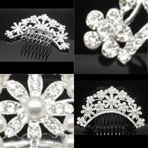 Brides Headwear Accesorios de boda Novia Corona Peinera Peineo Mujer Rhinestone Updo Flower Interposición Combs Venta caliente 5 5HP L1