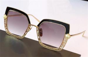 Nova Moda Design Mulher Óculos de Sol 2020 Quadrado Quadrado Meia Hollow Inlake Design Pérola Estilo Popular UV400 Óculos Protetores