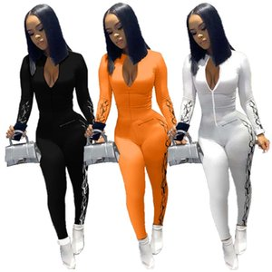 Women Jumpsuits & Rompers Fall Winter clothing Rompers leggings Long sleeve Polyester blend Regular Print letter Zip neck Sexy club 0621