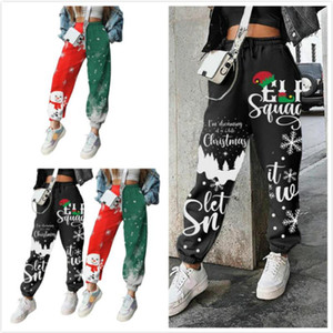 2020 Women Leggings Designer Clothes Christmas Element Snowman Positioning Printed Plush Loose Fit Sports Pants Ladies New Casual Trousers