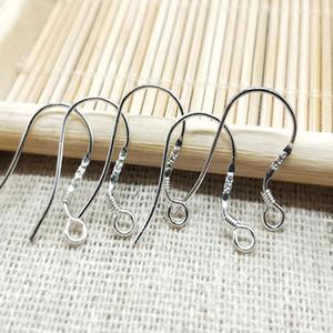 500pcs Hot 925 Sterling Silver Orecchino Orecchini Risultati Fishwire Ganci Gioielli FAI DA TE 15mm Gancio di pesce FOK Coil Wire Ear 67 J2