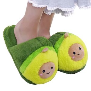 Millffy cute Women Flip Flop Avocado Slippers Shape Home Floor Soft Stripe Slippers Female Shoes Girls Winter Spring Warm shoes 201124