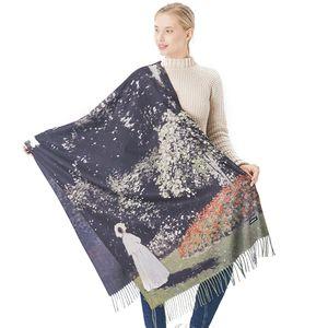 Van Gogh Oil Painting Scarf Women Winter Warm Tassel Scarves Luxury Long Pashmina Lady Designer Print Wrap Shawl Plus Size 190cm