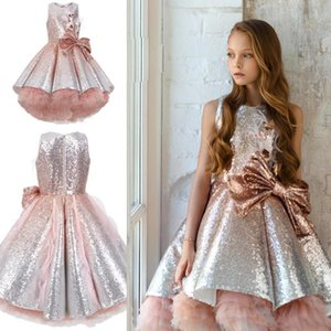 2020 Shiny Sequins Flower Girls Dresses Sleeveless Tulle Tiered TuTu Girls Pageant Gowns Gorgeous Puffy Prom Dresses