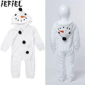 Newborn Baby Boy Girl Christmas Rompers Toddler Kid Snowman Plush Hoodie Long Sleeve Jumpsuit Winter Warm Clothes 6M-3Years J1203