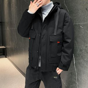 winter 2021 new leisure thickened hooded work clothes coat men's cotton padded clothes warm cotton padded jacket coat