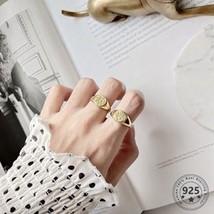 LouLeur 925 sterling silver Retro pattern open rings gold round square abstract pattern rings for women original jewelry charms Y1128