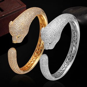 Classic luxury men jewelry Statement leopard Bangles Brand Top 3A Zircon Bangles & Bracelet For Women Pulseira Feminina Pulseira