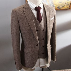 2020 Tweed Brown Herringbone Tuta maschile vestito in affari 3-pezzo Belle fine groom fit adatti tuxedo 6xl wedding gown gown hjs5