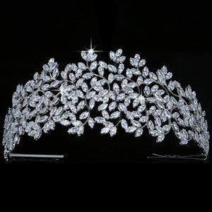 Crown HADIYANA Leaves Design Vintage Women Wedding Bridal Hair Accessories Party Tiaras And Crown Cubic Zircon BC5170 Corona Q1124