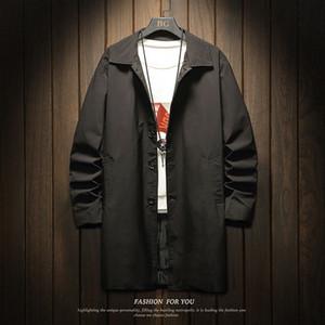 2019 Autumn New Suit Medium Length Thin Windbreaker Men's Casual Coat