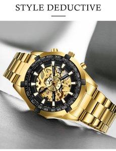 2021 Design Automatique Montre-bracelet mécanique pour Hommes Montres Gold Gold Watch Watch Man Skeleton Steel Orologio Uomo