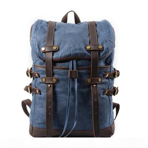 Waxed Canvas and Leather Mens Vintage Backpack Waterproof College Schlool Bag Outdoor Travel Computer Rucksack fits 16-inch Laptop