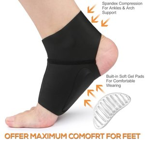 2020 1 Pair Compression Arch Support Brace with Gel Ankle Protector Flat Foot Socks Gel Cushion Pads for Ankle Arch Pain Relief