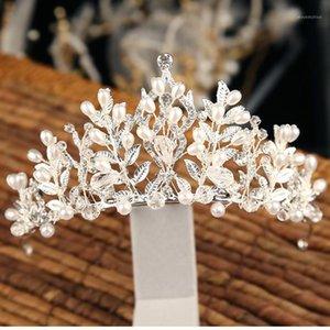Crystal Vintage Baroque Pearl Flower Bridal Crowns Handmade Strass Tiara Fascia Donne Diadem Gioielli per capelli da sposa1