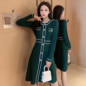 2020 Autumn Winter New O neck and Long Sleeve Knitted Dress Women Slim Waist Button Fashion Bright Shinny Outfit