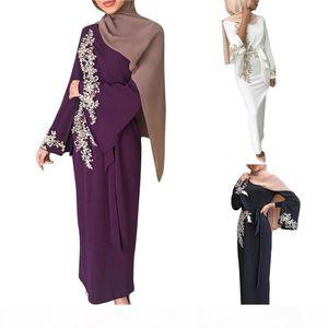 Women Muslim Dubai Abaya Long Sleeve Maxi Dress Floral Lace Beading Splice Turkey Hijab Robe Kaftan Islamic Clothing