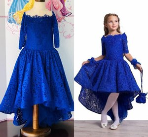 Fashion Royal Blue Hi Low Pageant Dresses Little Girls Lace Bodice Scoop Neck with 3 4 Sleeves New Prom Kids Formal Wear Flower Girls dress