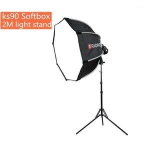Triopo KS90 90CM فلاش Speedlite Softbox Portable Outdoor Outgagon Umbrella Softbox مع 2M Light Stand for Ptoto Studio1