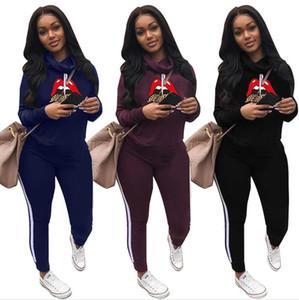 Frauen Lippen Anzug Designer Heaps Kragen Hoodies Legging Hosen Outfit Herbst-Winter-Pullover Hosen Anzug Zwei Stücke Kleidung Sets F111801
