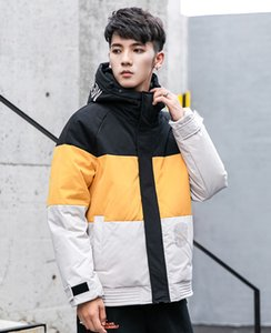 man clothing White duck down 2020 winter new hooded Chaquetas Overcoat Man Outwear Parka stripe jacket men's casual Coat