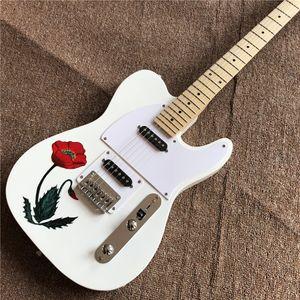 personalizado de alta qualidade guitarras elétricas brancas atacado, com flores sobre o corpo, pinturas guitarrista reais, frete grátis