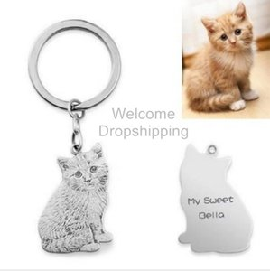 Photo Personalized Pet Custom Keychain Jewelry Pendant Engraved Name 925 Sterling Silver Dog Tag Portraits
