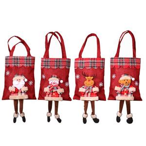 Christmas Home Decoration Gift Bag Candy Bag Santa Plaid Tote Christmas Scene Arrangement Gift
