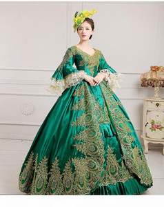 luxury green embroidery golden lace medieval dress renaissance Gown queen Dress Victorian Marie Antoinette Colonial Belle Ball