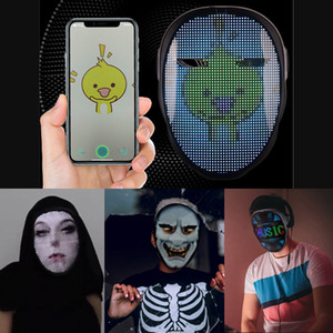 Original Bluetooth App Ändern Gesichtsmaske Programmierbare DIY Foto Vollfarbige Animation Glühende LED-Maske Display Board Party Christmas Bar