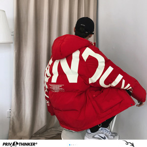 Privathinker kalın sıcak erkekler kış ceket parka rahat gevşek harajuku erkek boy parka palto kapüşonlu baskı kırmızı giysiler 201125