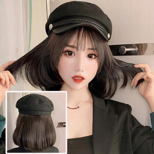 Women Stylish Bob Straight Short Wig Hairpiece Hair Extension with Peaked Cap Naturally Connect Hat Wig Adjustable