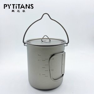 Factory directly sale Outdoor Titanium Cup Mug Pots Tableware Camping Cup Picnic Water Mug Of Coffee With Lid 750ml