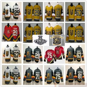 2021 New Gold Yellow Red Vegas Golden Knights Hockey 29 Marc-Andre Fleury 67 Max Paciornetty Ryan Reaves Jonathan Marchessault Jerseys