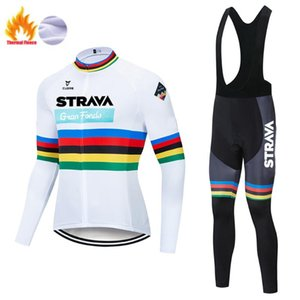man STRAVA Warm Cycling Bib Trousers jersey set Winter Mountain Bike long Pants Bicycle Tights culotte ciclismo hombre invierno