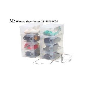 6pcs Children women men Transparent Makeup Organizer Clear Plastic Shoes Storage Boxes Foldable Shoes Case Hol jllrER