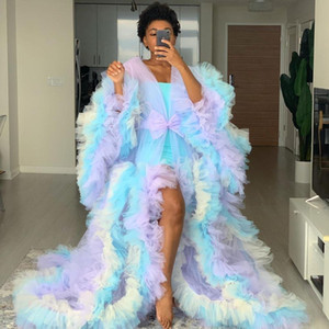 Colorful Chic Prom Dresses Robe Puff Full Sleeves Ruffles Tiered See Thru Maternity Photoshoot Vestidos Tulle Robe Evening Dress Real Images