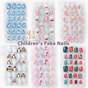 24pcs box Children's False Nails Self Adhesive Jelly Nails Set Full Cover Pink Blue Cartoon Cute Kawaii Fake for Kids