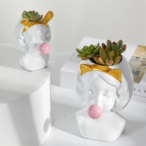 2020 Nordic Style Resin Vase Cute Girl Human Head Bubble Gum Decorative Flower Pot Modern Lovely Art decoration Flower Creative LJ201209