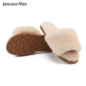 2020 New Arrival Winter Warm Slides Sheepskin Sliders Women's Real Wool Fur Slippers Home Indoor Winter Shoes S6038Z1127