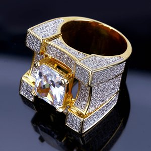 Personalized new 18K Gold Plated CZ Cubic Zirconia Hip Hop Bling Rings Diamond Jewelry for Men 24mm Size 7 to 11 Comfort Fit Wholesale