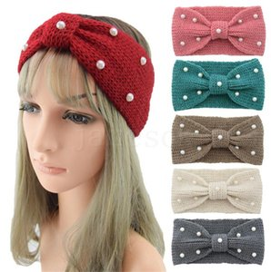 Winter Warmer Ear Knitted Headband Turban For Lady Women Crochet Bow Wide Stretch Hairband Headwrap Hair Accessories For Girl dc983