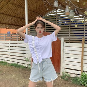 Korean Chic Summer Kawaii Soft Girl New Women O Neck Short Sleeve Tee Sweet Bow Splice Tops Basic Solid Color Casual Loose