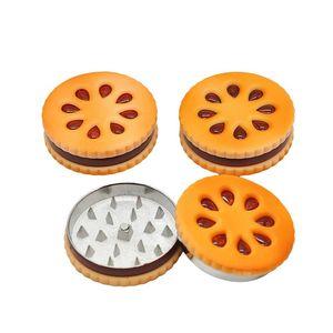 55MM herb grinders grinder Biscuit hand cranked cigarette grinder Portable two layer plastic grinder smoking grinders